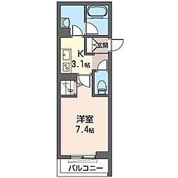 仮)幸区柳町シャーメゾン 1階1Kの間取り