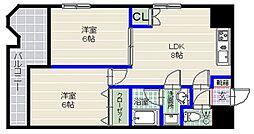 福岡県福岡市早良区西新6丁目の賃貸マンションの間取り