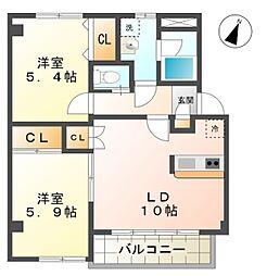 愛知県豊田市越戸町尺口の賃貸アパートの間取り