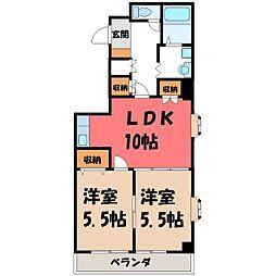 栃木県下都賀郡壬生町緑町4の賃貸マンションの間取り