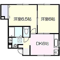ラッフィナート渡辺第2[1階]の間取り