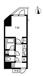 ハーモニーレジデンス浜松町 7階1Kの間取り