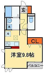 JR常磐線 南柏駅 徒歩5分の賃貸アパート 1階ワンルームの間取り