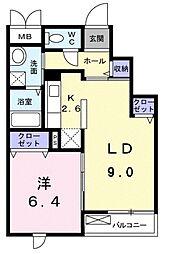 JR五日市線 武蔵引田駅 徒歩17分の賃貸マンション 3階2LDKの間取り