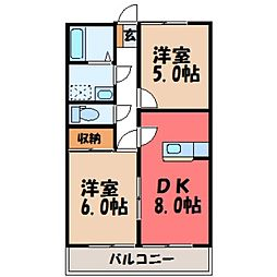 栃木県小山市大字横倉新田の賃貸マンションの間取り