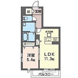 座間市栗原中央1丁目マンション (仮) 1階1LDKの間取り