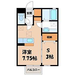 モリ ソレール 1階ワンルームの間取り