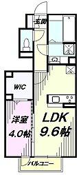JR横浜線 八王子みなみ野駅 徒歩10分の賃貸アパート 1階1LDKの間取り