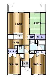 神奈川県横浜市港南区下永谷3丁目の賃貸マンションの間取り