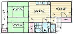 エメラルドマンション吉塚II[505号室]の間取り