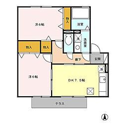愛知県豊橋市下地町5丁目の賃貸アパートの間取り
