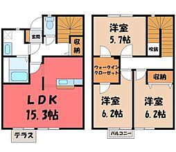 リースランドIP D 2階3LDKの間取り