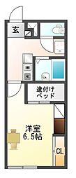 愛知県豊川市御津町西方井領田の賃貸アパートの間取り