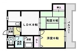 福岡県福岡市西区小戸3丁目の賃貸マンションの間取り