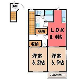 栃木県河内郡上三川町しらさぎ3丁目の賃貸アパートの間取り
