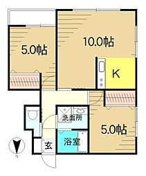 福島県郡山市横塚5丁目の賃貸アパートの間取り