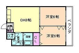 大阪府豊中市服部元町2丁目の賃貸マンションの間取り