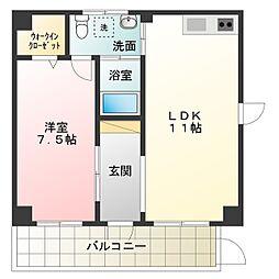 ブランカ堺東 2階1LDKの間取り