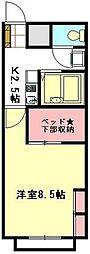 JR高崎線 鴻巣駅 徒歩25分の賃貸アパート 2階1Kの間取り
