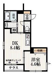 (仮称)たかの台マンション 1階1DKの間取り
