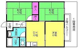ドミール中島 A棟[102号室]の間取り