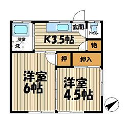 公田荘[203号室]の間取り