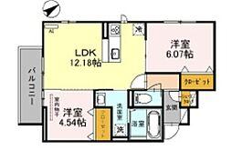 JR阪和線 三国ヶ丘駅 徒歩14分の賃貸アパート 3階2LDKの間取り