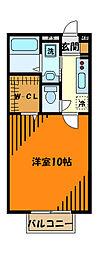 JR横浜線 相原駅 徒歩9分の賃貸アパート 1階1Kの間取り