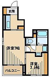JR川越線 武蔵高萩駅 徒歩2分の賃貸アパート 1階2Kの間取り