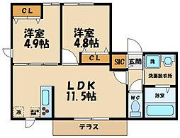 JR武蔵野線 北府中駅 徒歩15分の賃貸マンション 1階2LDKの間取り