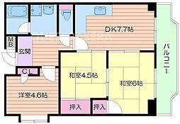 大阪府吹田市五月が丘南の賃貸マンションの間取り