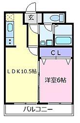 石田ハイツ2号館[2階]の間取り