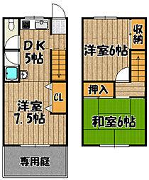 [テラスハウス] 兵庫県川西市矢問2丁目 の賃貸【兵庫県 / 川西市】の間取り