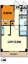JR横須賀線 新川崎駅 徒歩20分の賃貸マンション 3階1LDKの間取り
