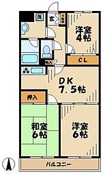 東京都多摩市愛宕4丁目の賃貸マンションの間取り
