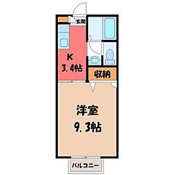 栃木県宇都宮市宝木町1丁目の賃貸アパートの間取り