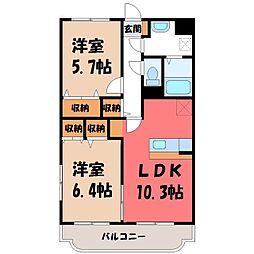 Y&Mディア小金井 1階2LDKの間取り