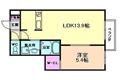 サザン f XIVB棟[2階]の間取り