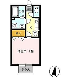 愛知県岡崎市矢作町字西林寺の賃貸アパートの間取り