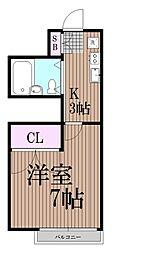 東京都品川区平塚2丁目の賃貸アパートの間取り