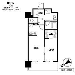 福岡市地下鉄空港線 中洲川端駅 徒歩6分の賃貸マンション 8階1LDKの間取り