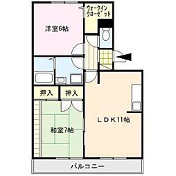 ドミールパーク江崎[2階]の間取り