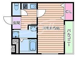 京阪本線 滝井駅 徒歩5分の賃貸アパート 1階1Kの間取り