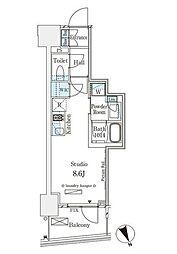 東京メトロ銀座線 表参道駅 徒歩12分の賃貸マンション 10階ワンルームの間取り