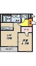 大阪府堺市西区鳳南町1丁の賃貸アパートの間取り