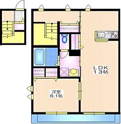 東急大井町線 等々力駅 徒歩5分の賃貸マンション 2階1LDKの間取り