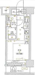 LUMEED横浜阪東橋 8階ワンルームの間取り