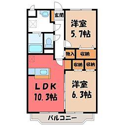 林マンション F 3階2LDKの間取り
