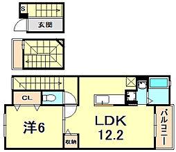 阪急今津線 門戸厄神駅 徒歩22分の賃貸アパート 3階1LDKの間取り