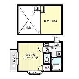 福岡県福岡市中央区唐人町2丁目の賃貸アパートの間取り